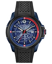 Marvel by Citizen Eco-Drive Men's Spider-Man Black Strap Watch 44mm