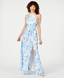 Morgan & Company Juniors' Strappy-Back Floral Halter Gown