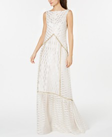 Rachel Zoe Metallic Embroidered Sleeveless Gown