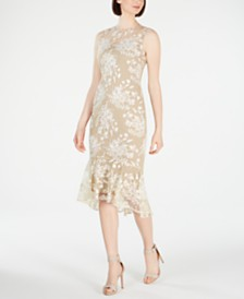 Calvin Klein Floral-Embroidered Trumpet Midi Dress