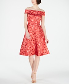 Calvin Klein Off-The-Shoulder Brocade Fit & Flare Dress