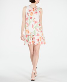 Calvin Klein Petite Floral Flounce Shift Dress