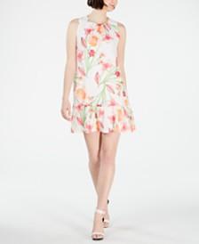 Calvin Klein Petite Floral Flounce Shift Dress