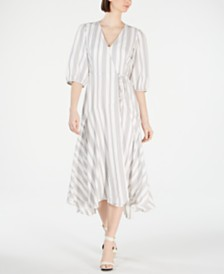 Calvin Klein Striped Wrap Maxi Dress