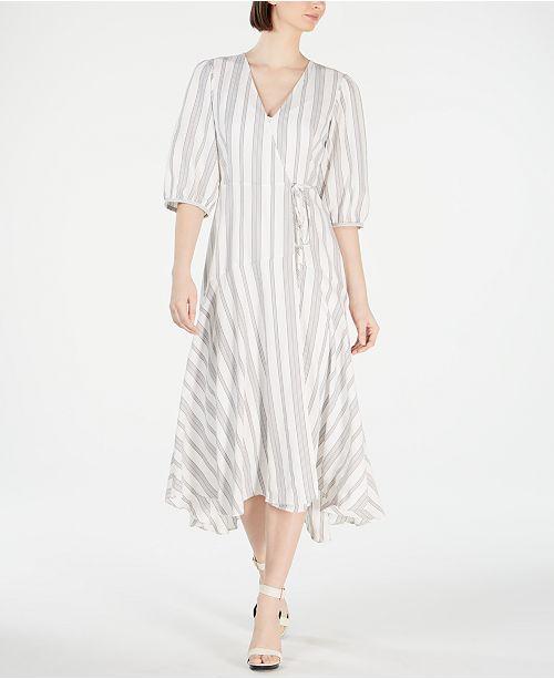 Calvin Klein Striped Wrap Maxi Dress