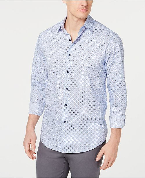 Tasso Elba Men's Stretch Foulard Printed Shirt, Created for Macy's