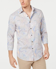 Tasso Elba Men's Floral Striped Shirt, Created for Macy's