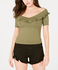 GUESS Kaye Ruffled Off-The-Shoulder Top