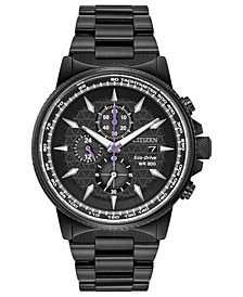 Eco-Drive Men's Black Panther Chronograph Black Bracelet Watch 42mm