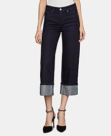 BCBGMAXAZRIA Cotton Cuffed Wide-Leg Jeans