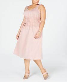 Alfani Plus Size Lace-Trim Fit & Flare Dress, Created for Macy's