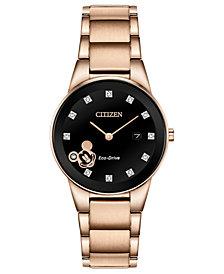 Disney by Citizen Eco-Drive Women's Mickey Mouse Diamond-Accent Rose Gold-Tone Bracelet Watch 29.5mm