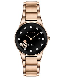 Disney by Citizen Eco-Drive Women's Mickey Mouse Diamond-Accent Rose Gold-Tone Bracelet Watch 29.5mm