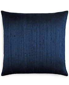 "Small World Home Jetrich Canada Dupioni Navy 20"" x 20"" Decorative Pillow"