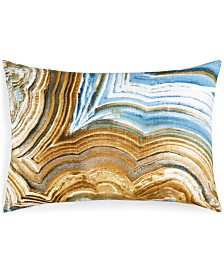 """CLOSEOUT! Small World Home Jetrich Canada Marble Blue 14"""" x 20"""" Decorative Pillow"""