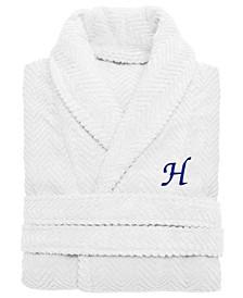 100% Turkish Cotton Personalized Unisex Herringbone Bath Robe - White
