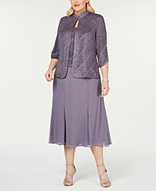 Plus Size Tea-Length Dress & Jacket