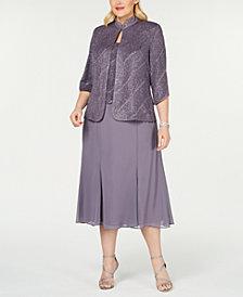 Alex Evenings Plus Size Tea-Length Dress & Jacket