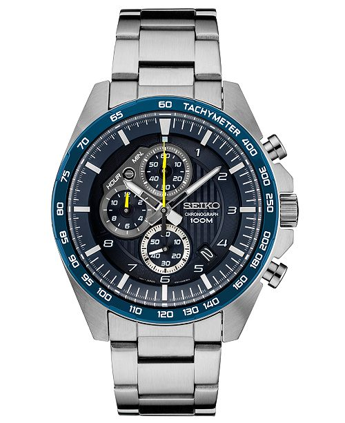 Seiko Men's Chronograph Stainless Steel Bracelet Watch 43.9mm