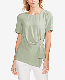 Vince Camuto Gathered Asymmetrical-Hem Top