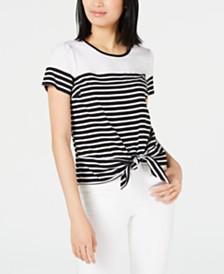Maison Jules Striped Tie-Hem T-Shirt, Created for Macy's