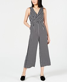 Maison Jules Cropped Cross-Front Jumpsuit, Created for Macy's