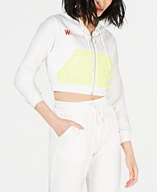 Neon-Mesh Cropped Zip-Up Hoodie