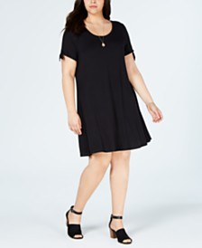 Style & Co Plus Size Tie-Sleeve Jersey Dress, Created for Macy's