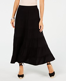 Style & Co Tiered Comfort-Waist Midi-Skirt, Created for Macy's