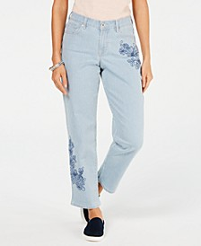 Petite Embroidered Railroad Boyfriend Jeans, Created for Macy's