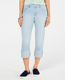 Petite Curvy-Fit Cuffed Capri Jeans, Created for Macy's