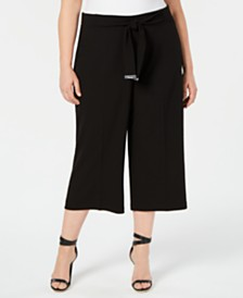 Calvin Klein Plus Size Belted Cropped Pants