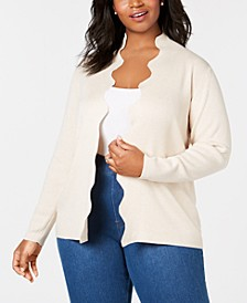 Plus-Size Scalloped-Edge Open-Front Cardigan