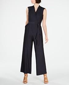 Calvin Klein Belted Denim Jumpsuit