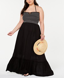 Raviya Plus Size Smocked Cover-Up Dress