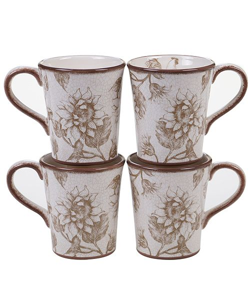 Certified International Toile Rooster 4-Pc. Mug