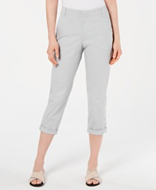 Style & Co Petite Eyelet-Trim Cuffed Capris, Created for Macy's