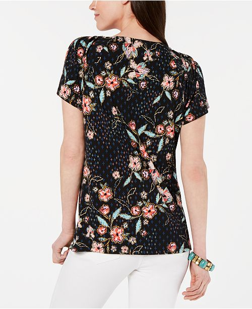 5f03f0700d9 Style & Co Pleated-Neck Floral-Print Top, Created for Macy's ...