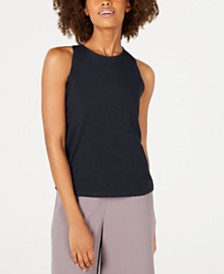 Eileen Fisher Cotton Round-Neck Slim-Fit Yoga Tank Top