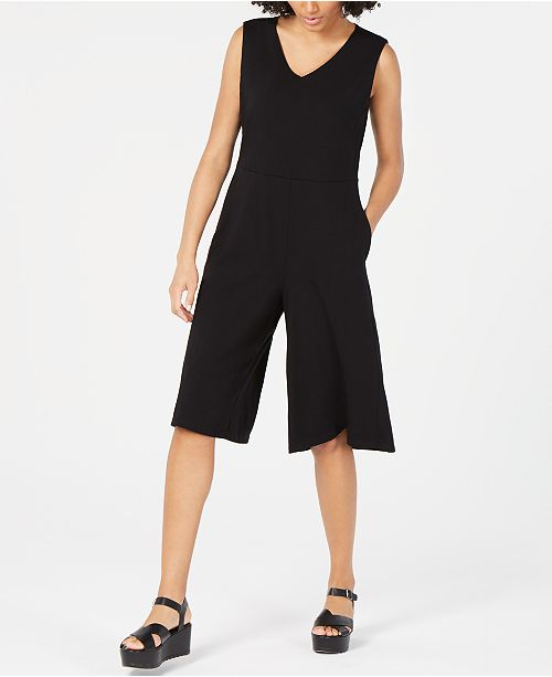 Eileen Fisher Cotton V-Neck Cropped Jumpsuit