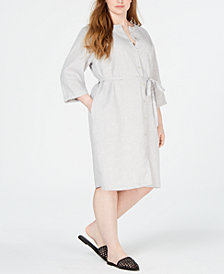 Eileen Fisher Plus Size Organic Linen Belted Shirtdress