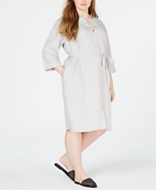 Eileen Fisher Plus Size Organic Linen Belted Shirtdress
