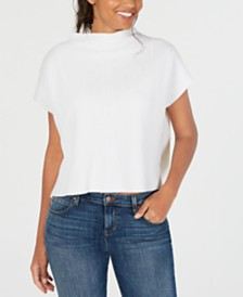 Eileen Fisher Funnel-Neck Short-Sleeve Top