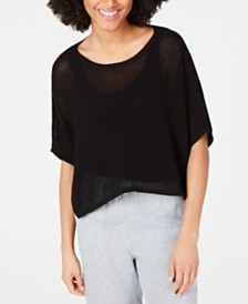 Eileen Fisher Short-Sleeve Asymmetrical-Hem Top