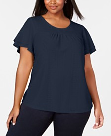 NY Collection Plus Size Pointelle Flutter-Sleeve Top