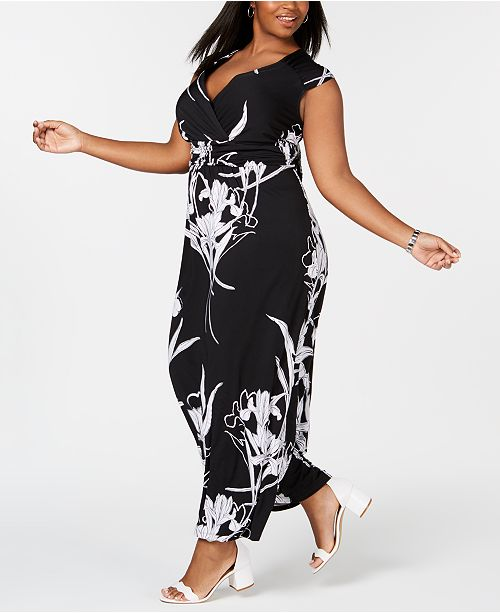 73f9f2647ef Elementz NY Collection Plus   Petite Plus Size Surplice Printed Maxi Dress  ...