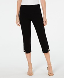 JM Collection Grommet-Hem Cropped Pants, Created for Macy's