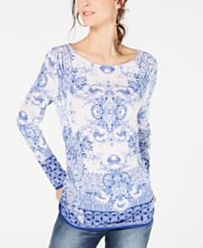 I.N.C. Petite Printed Long-Sleeve Ruched Top, Created for Macy's