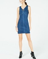 e20121be8c I.N.C. Tie-Up Jean Dress, Created for Macy's