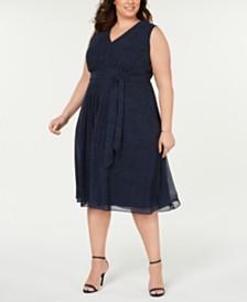 Anne Klein Plus Size Printed Faux-Wrap Midi Dress
